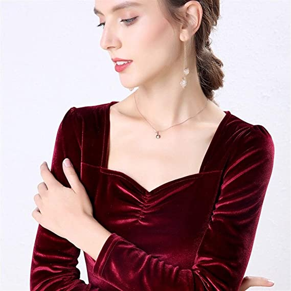 Dumai Camisa Blusa de Terciopelo Camisas de Mujer Manga Larga Cuello en V Básica Señora Cálida Vintage Blusas Femme Tops (Color : Red, Size : XXXL): Amazon.es: Hogar