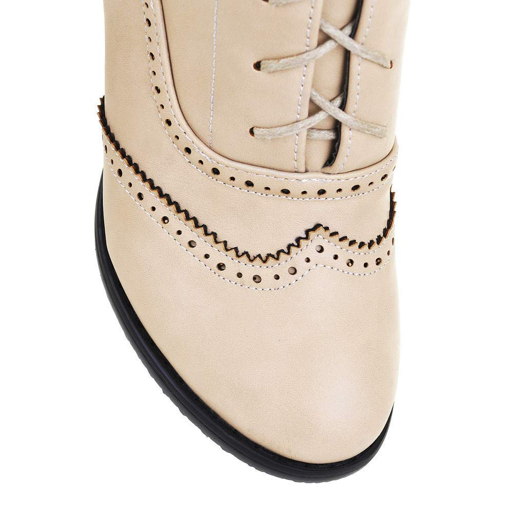 HhGold Stiefel Damen Damen Damen Schuhe Damenstiefel Frauen Classic Spitz Leder Freizeitschuhe Schnür Stiefel Hohem Absatz Middle Tube Martin Stiefel Winterstiefel Turnschuhe Stiefel (Farbe   Beige, Größe   43 EU) 32e9bd
