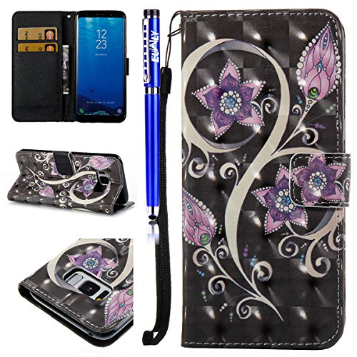 EUWLY Case for Samsung Galaxy S8,Samsung Galaxy S8 Leather Wallet Case,3D Stereoscopic Painting Ultra-Thin Slim PU Leather Protective Sleeve Stand Feature with Lanyard Book Style Magnetic Closure Anti Flower