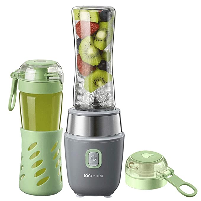 Multifunctional Smoothie Maker small fruit juice machine with 2 cups(500ml)-Green,Mini small fruit juice machine