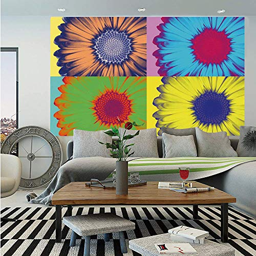 - SoSung Modern Art Home Decor Wall Mural,Pop Art Inspired Colorful Kitschy Daisy Flower Hard Edged Western Design,Self-Adhesive Large Wallpaper for Home Decor 55x78 inches,Multi