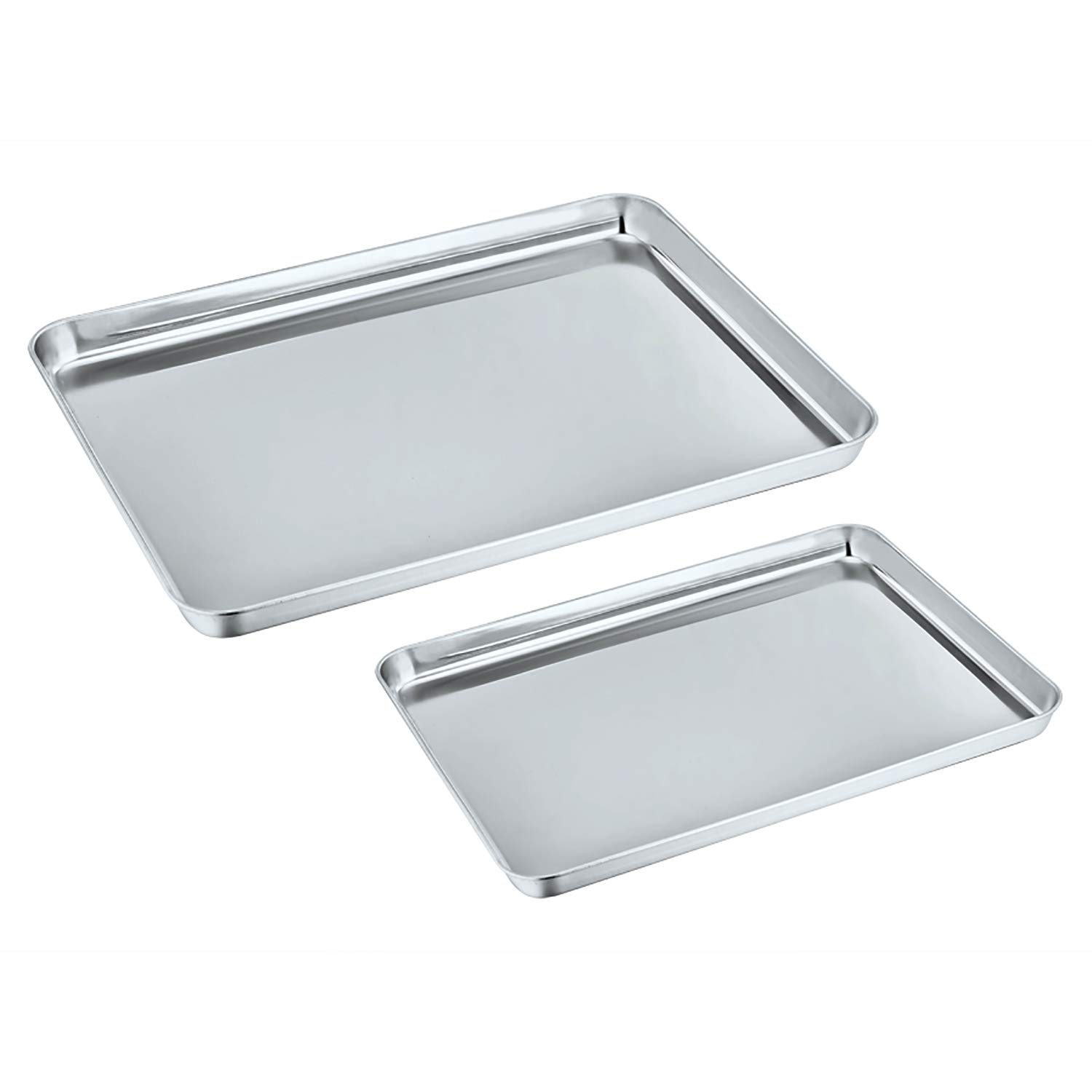 Baking Sheet Set of 2, P&P Chef Stainless Steel Baking Pan Cookie Sheet Professional, Non Toxic & Healthy, Rust Free & Dishwasher Safe, Mirror Finish & Easy Clean