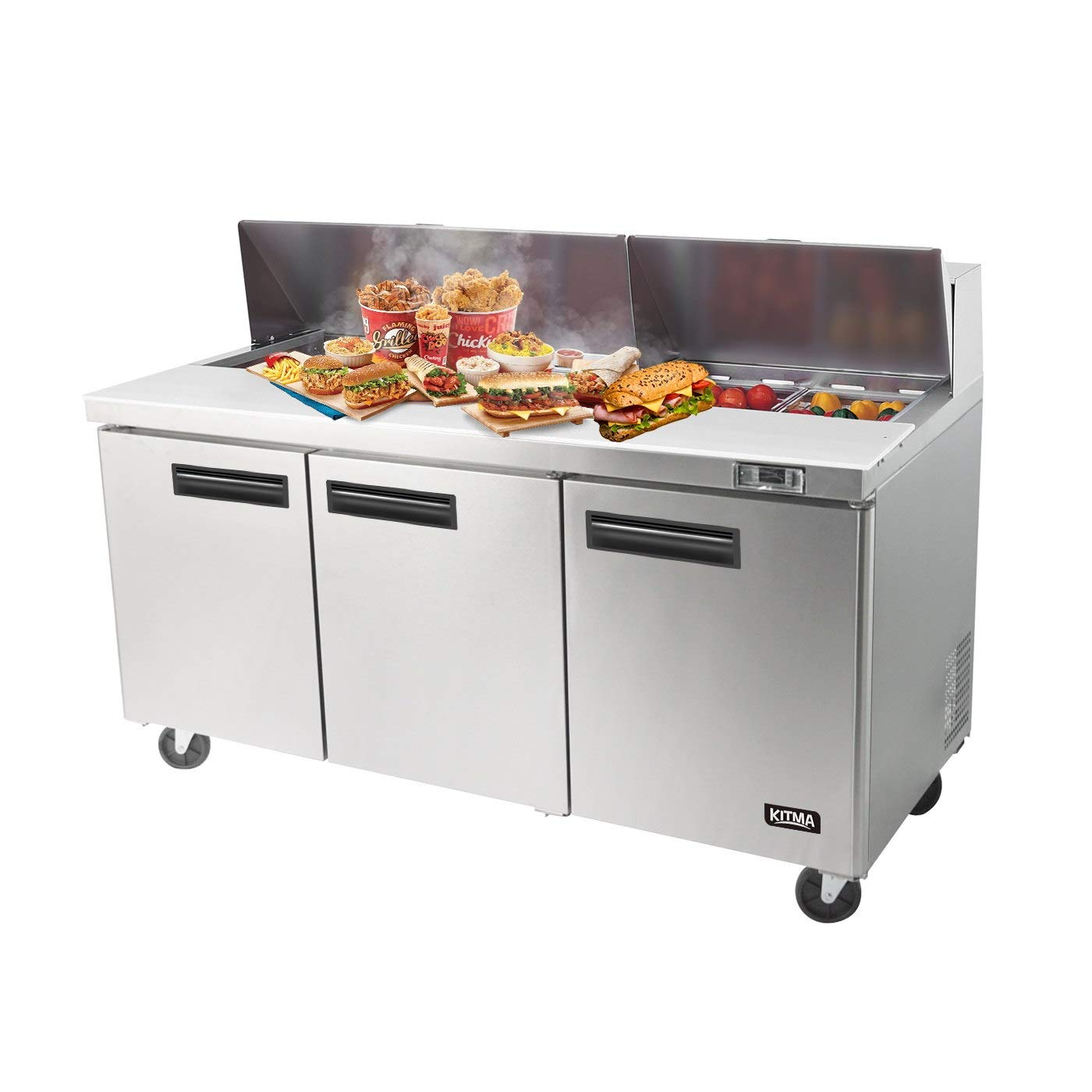 Ft 33 /°F 17.2 Cu 45/°F Commercial Mega Top Stainless Steel Pizza Salad Prep Table with 24 Pans KITMA 60 Double Door Sandwich Prep Table Refrigerator