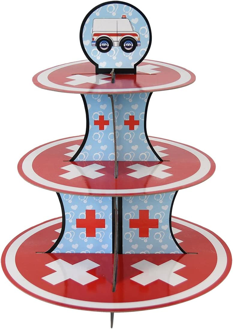 Doctor Cupcake Stand & Pick Kit, Nurse Party Supplies, Doctor Decorations, Birthdays, Ambulance, Medical Theme, Graduations, Cake Decorations, 3 Tier Cardboard