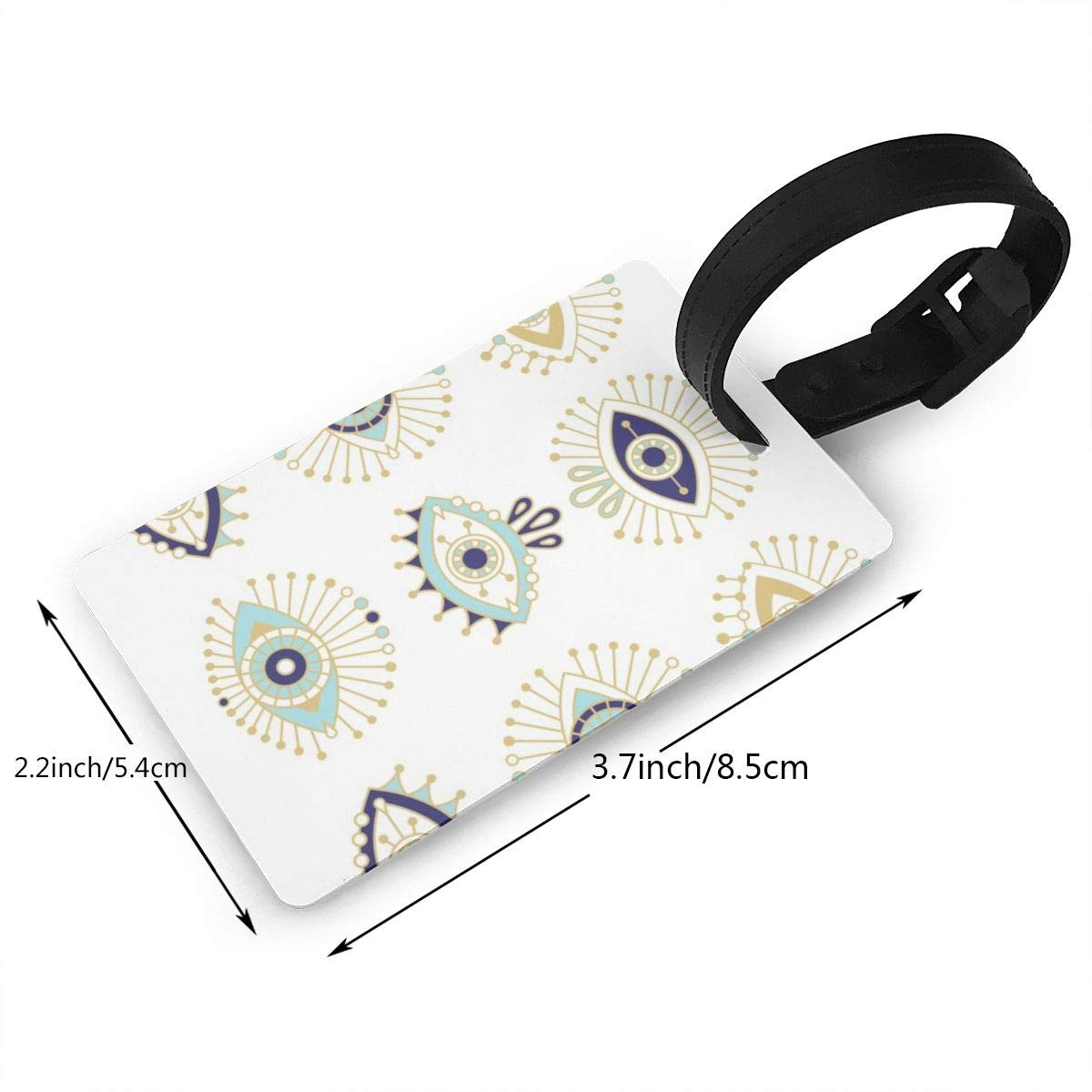 Evil eye collection on white Luggage Tags Suitcase Labels Bag Travel Accessories Set of 2