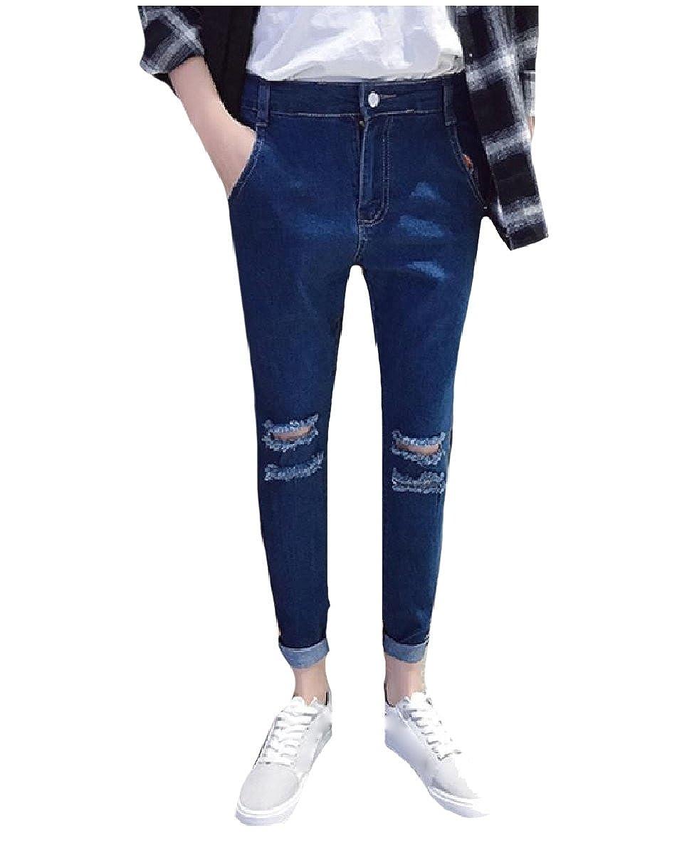 Fseason-Men Spring Summer Jeans Ripped Relaxed Fit Denim Tenths Pants