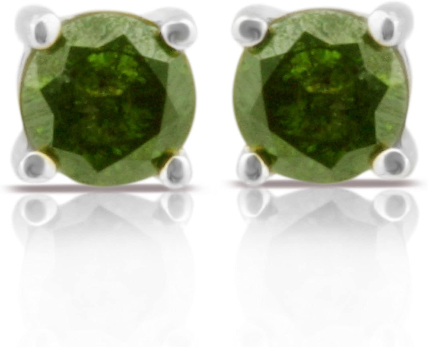 White Gold Plated Silver Prism Jewel 0.33 Carat Round Green Diamond Screw Back Prong Set Stud Earrings