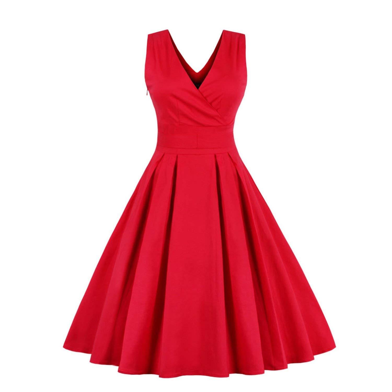 Red Light bluee Red Pleated Plain Vintage Dress V Neck Party Dress Elegant Cotton Dresses