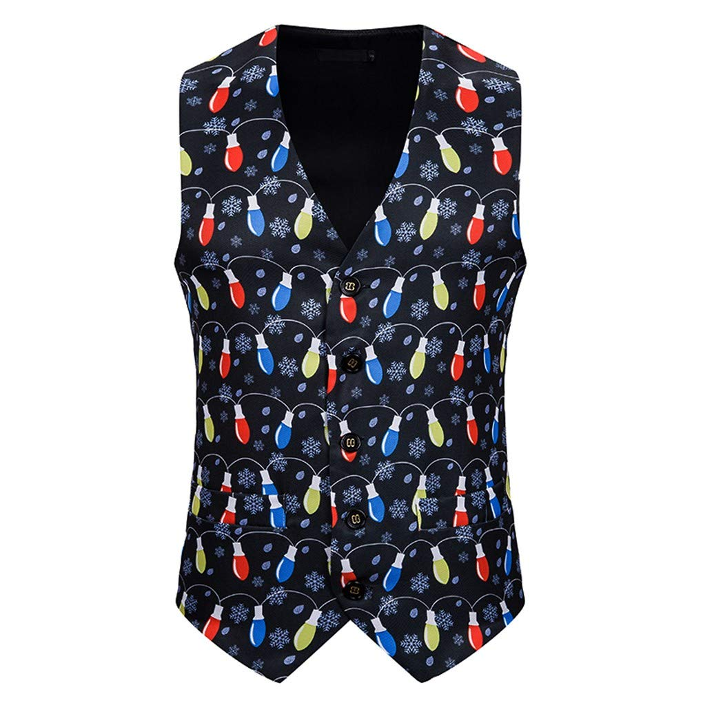 Banquet Business Casual Christmas Printing Waistcoat Tops Vest for Men Black by Tigivemen Tops