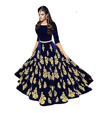0fe54358cc9 Image Unavailable. Image not available for. Colour: Shoryam Fashion Girl's  Embroidered Taffeta Silk Semi-Stitched Lehenga Choli with Blouse Piece (Blue