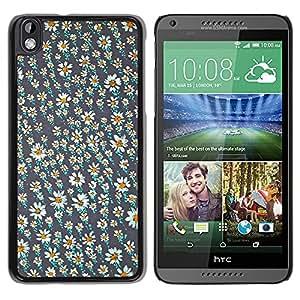 For HTC DESIRE 816 Case , Vintage Daisy Wallpaper Spring - Diseño Patrón Teléfono Caso Cubierta Case Bumper Duro Protección Case Cover Funda