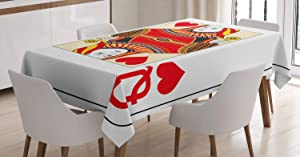 Ambesonne Queen Tablecloth, Queen of Hearts Playing Card Casino Design Gambling Game Poker Blackjack, Rectangular Table Cover for Dining Room Kitchen Decor, 60