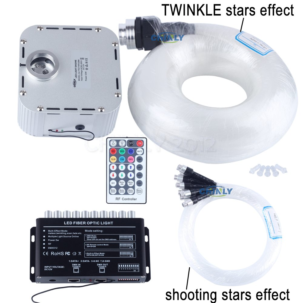 CHINLY 32W RGB 28key RF Remote TWINKLE LED Fiber Optic Star Ceiling Light Kit 835 Strands 16.4ft long(0.75mm+1.0mm+1.5mm)+Shooting Stars Effect by CHINLY