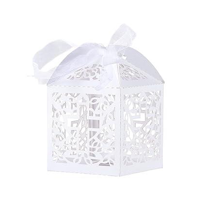 Tinksky Caja Caramelos Boda delicado caramelo cajas regalo cajas con cintas Caja de caramelo - 50