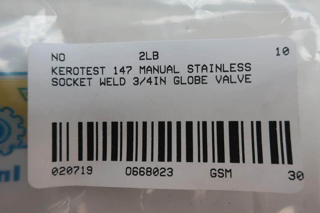 KEROTEST 147 Manual Stainless Socket Weld 3//4IN Globe Valve