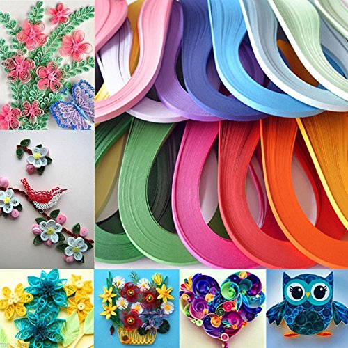 LEIZENG DIY 120 Strips 5mm Paper Quilling Color Origami Paper Hand Craft Milk White by LEIZENG (Image #2)