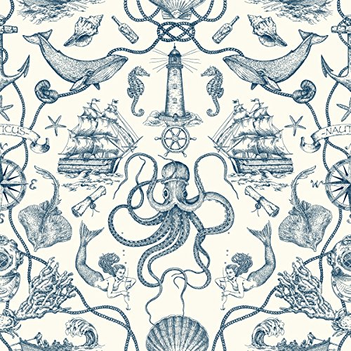 York Wallcoverings HO3361 Deep Sea Toile Wallpaper, Tailored Collection, Blue