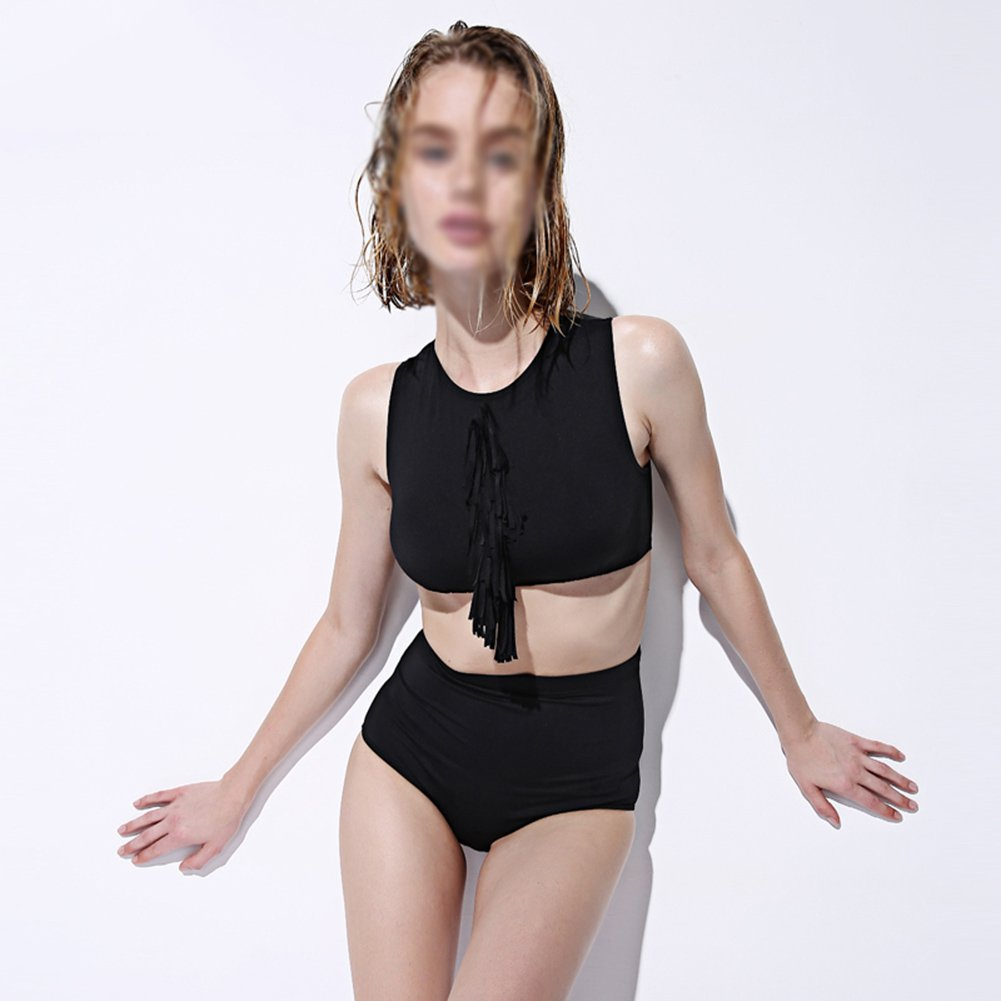 水泳Costum 2ピースレトロタッセルハイウエストレディース水着ビーチビキニセクシー水着女性の夏とワイヤレス水着 ( 色 : ブラック , サイズ さいず : L l ) B07CQZ7H1G