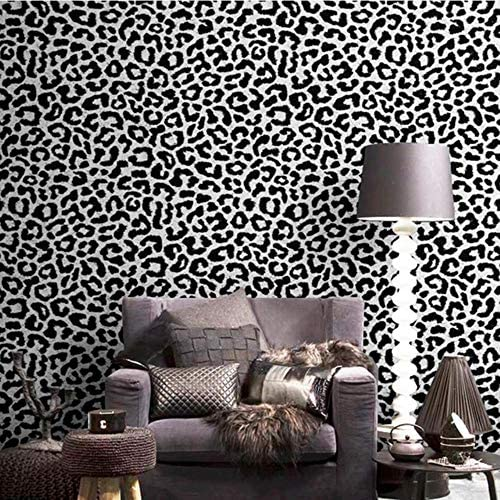 JYYA Fondo de Pantalla de Leopardo Negro Rosa Amarillo Azul Papel de Pared Mujeres Dormitorio Fondo P02301,10mx53cm