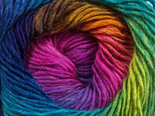 Sport Weight Wool Yarn ((1) 100 gram Primadonna Rainbow Self-Striping Yarn, Fine / Sport)