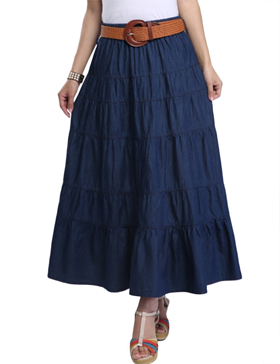 Tanming Women Dark Blue Casual Loose Denim Long Skirts (Large, Blue TM2)