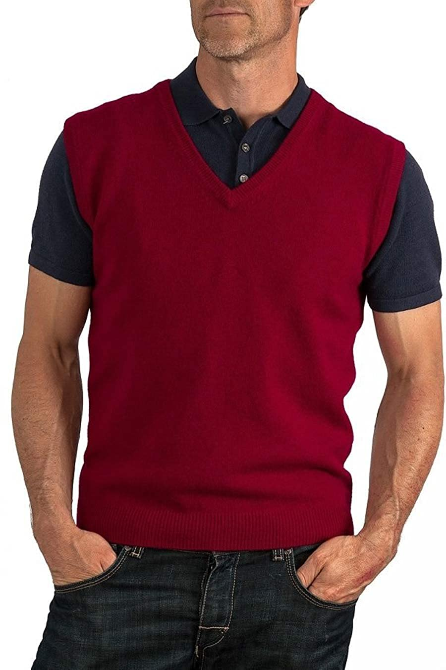 AARHON Mens V Neck Sleeveless Knitted Jumper Plus Size Sweater Mens Top Size UK