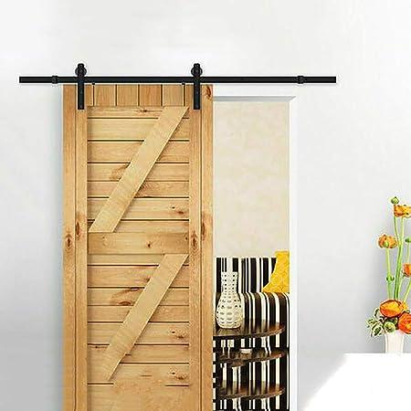 Herraje para Puerta Corredera Kit Riel colgante de doble puerta de 183-600 cm Riel de
