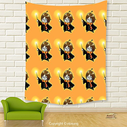 Vipsung House Decor Tapestry_Wizard By Cartoon Character With Glasses In Costume Frock Holding Wand Pattern Magic Anime Art Decor Orange And Black_Wall Hanging For Bedroom Living Room (Frida Kahlo Costume Halloween)