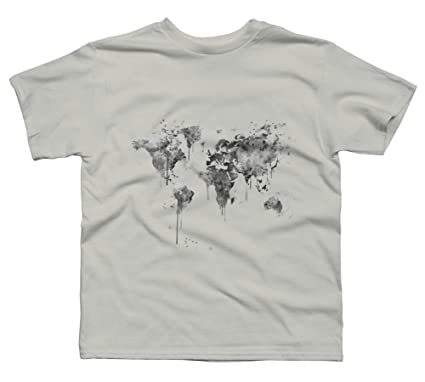 Amazon world map boys youth graphic t shirt design by humans world map boys x small silver youth graphic t shirt design by humans gumiabroncs Images