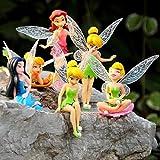 Tinkerbell Fairy Figures Girls Dolls Silvermist Rosetta Tinker Bell 3'' 6 pcs