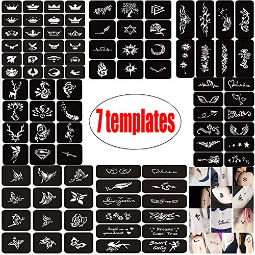 Tattoo Template Henna Tattoo Stencil/Temporary Tattoos Templates Set,Indian Arabian Tattoo Reusable Stickers Stencils Body Art Designs for Hands,Arm and Face (7Pcs 100 Mode) for $<!--$11.99-->