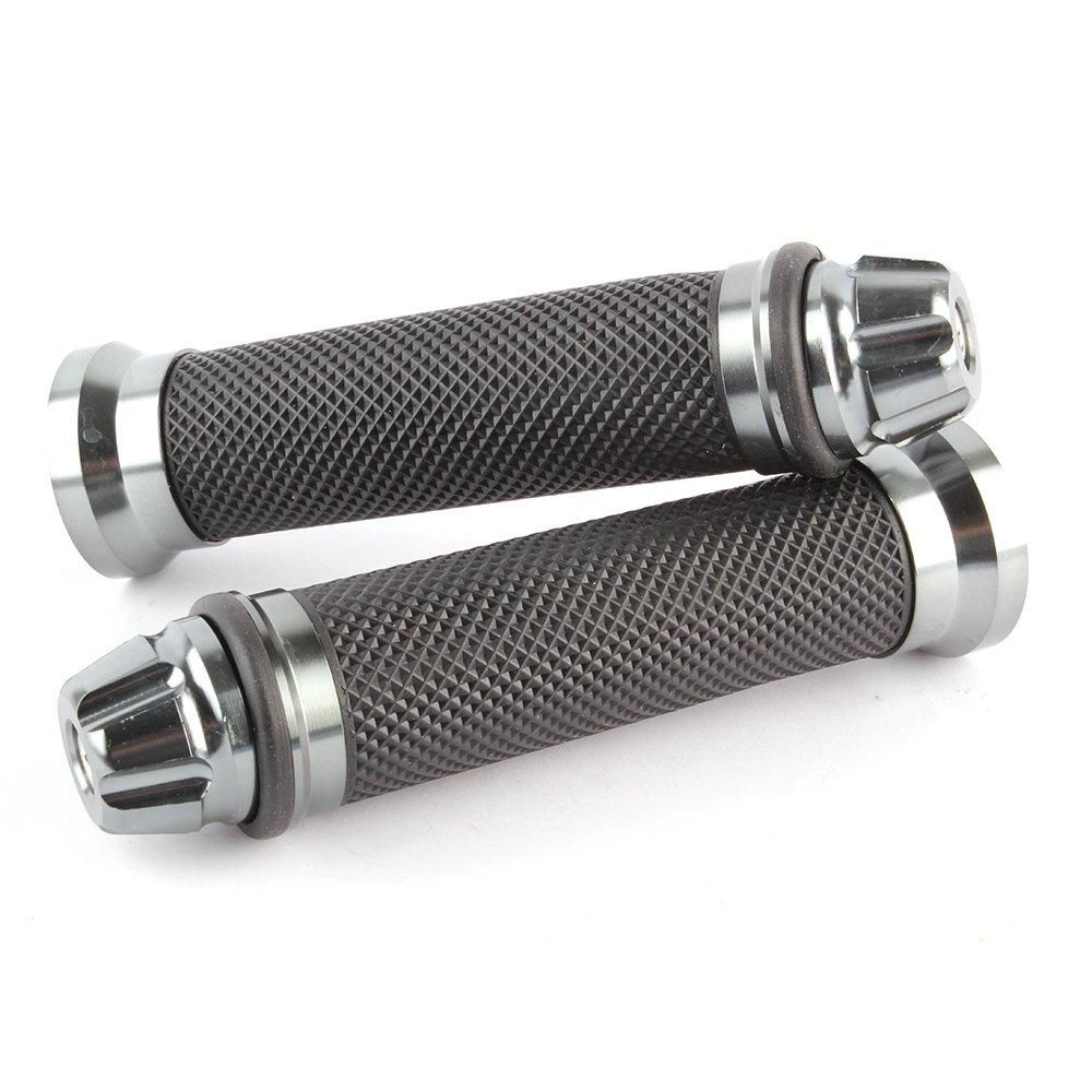 Universal 7//8 22mm Rubber Handlebar Hand Grip Bar End For Motorcycle Bike Cafe Racer