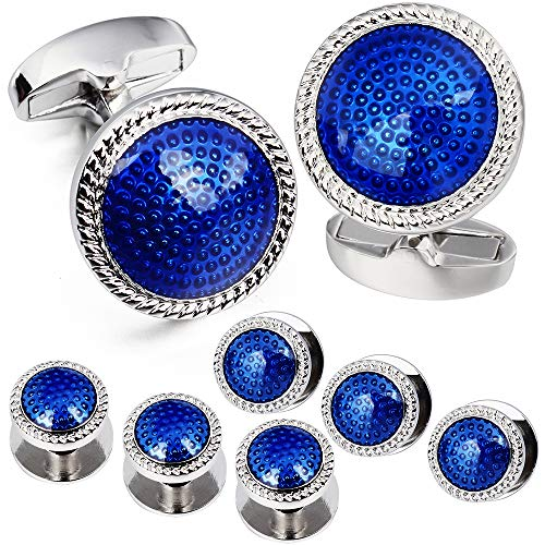 HAWSON Blue Cuff Links and Tuxedo Studs Set Business Wedding Gift for Men (Blue) ()
