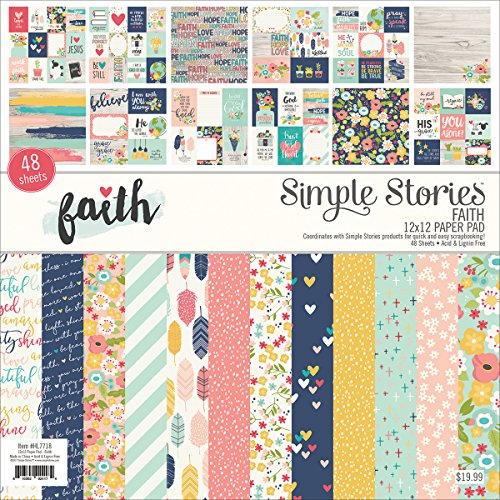 Simple Stories Single-Sided Paper Pad -Faith, 24 Designs/2 Each Each, 12