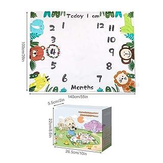 Premium Fleece Monthly Milestone Blanket, 40' x 55' with Wreath Frame Girl Infant Newborn Month Blanket