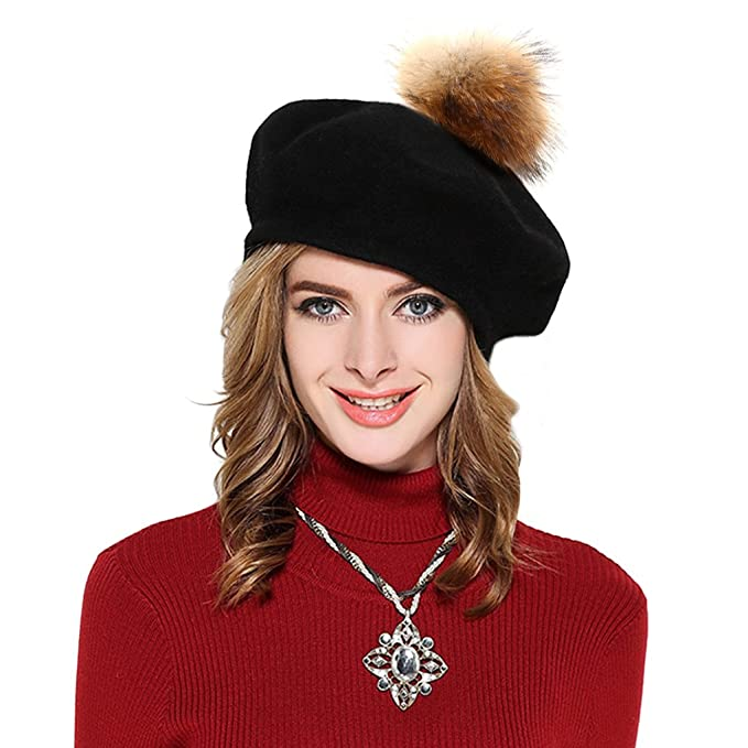 e95bad0b8 Womens French Beret Cap Wool Knit Winter Warm Beanie Hats with Fur Ball Pom  Pom