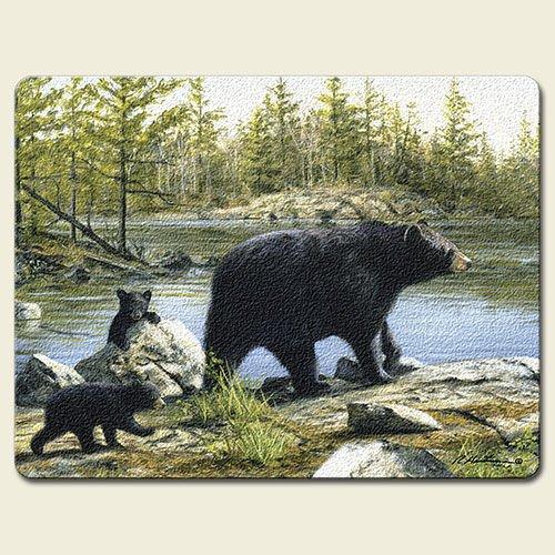 Keeping Watch Black Bears 15 x 11.5-inch Tempered Glass Cutting Board by Highland (Hautman Black Bear)