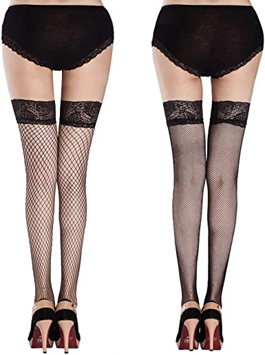 New Black Fishnet /& Lace Top Hold Up Stockings One Size silicone bands thigh hi