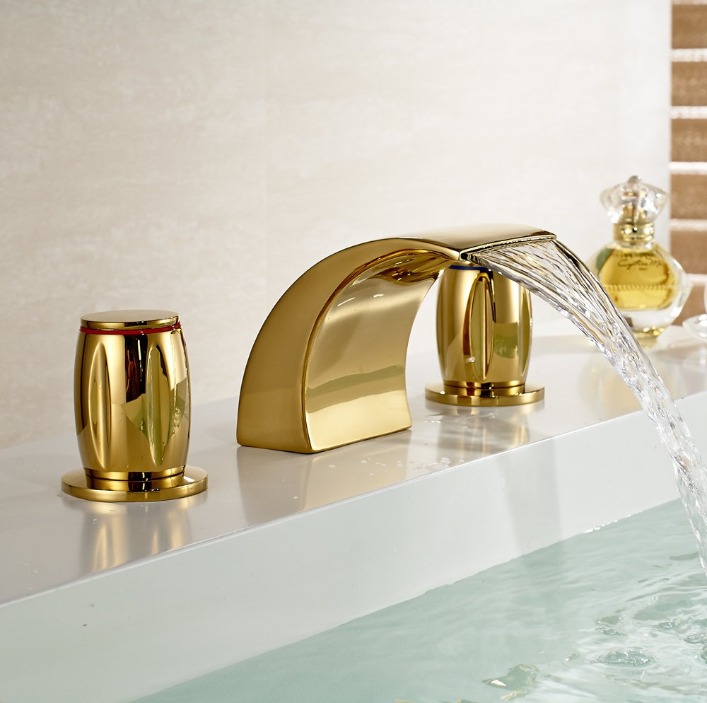 gold bathroom faucet. Gold Brass Waterfall Bathroom Sink Faucet Double Knobs Widespread Mixer Tap - Amazon.com D