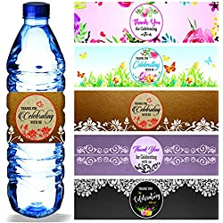 "Water Bottle Labels (Pack of 100/5 Designs) Waterproof Wrap Around 9"" x 2.25"" Wrappers Thank You for Celebrating with us Stickers for Wedding Bridal Baby Shower Birthday Party Decoration"