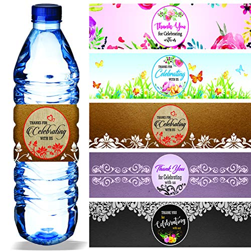 Water Bottle Labels (Pack of 100/5 Designs) Waterproof Wrap Around 8.5