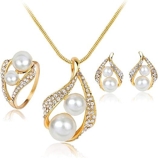 Amazon Com Ltlwl Women S Jewelry Set Earrings Necklace Ring Pearl