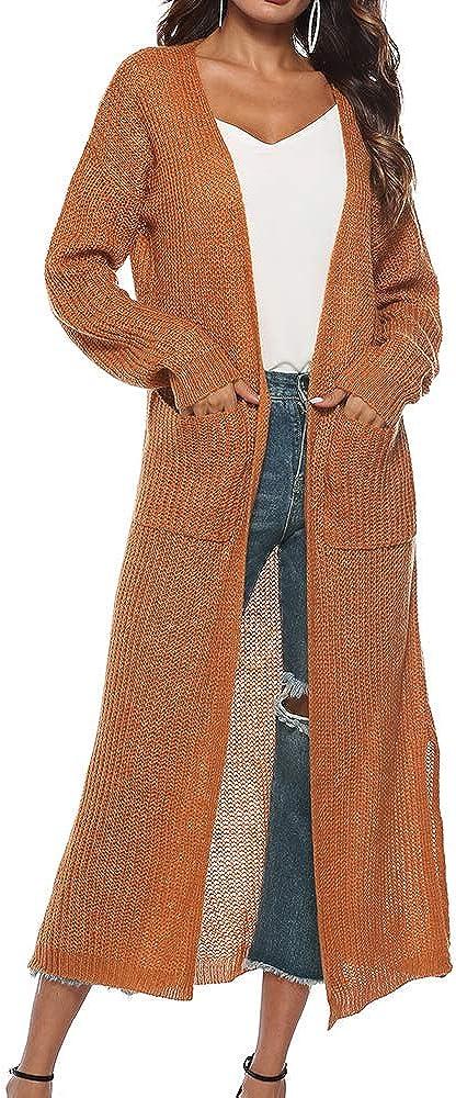 cardigan-strickjacke-damen-lang-dünn-orange