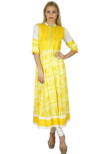 Bimba Mujeres Amarillo Kurta Anarkali Kurti Algodón Blusa India Étnico Vestido - Amarillo -