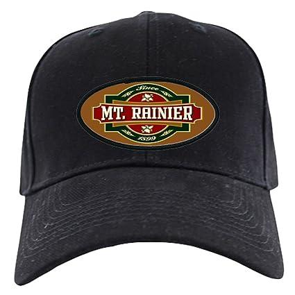 Amazon.com  CafePress - Mt. Rainier Old Label Black Cap - Baseball ... 9ed9c91f8e48