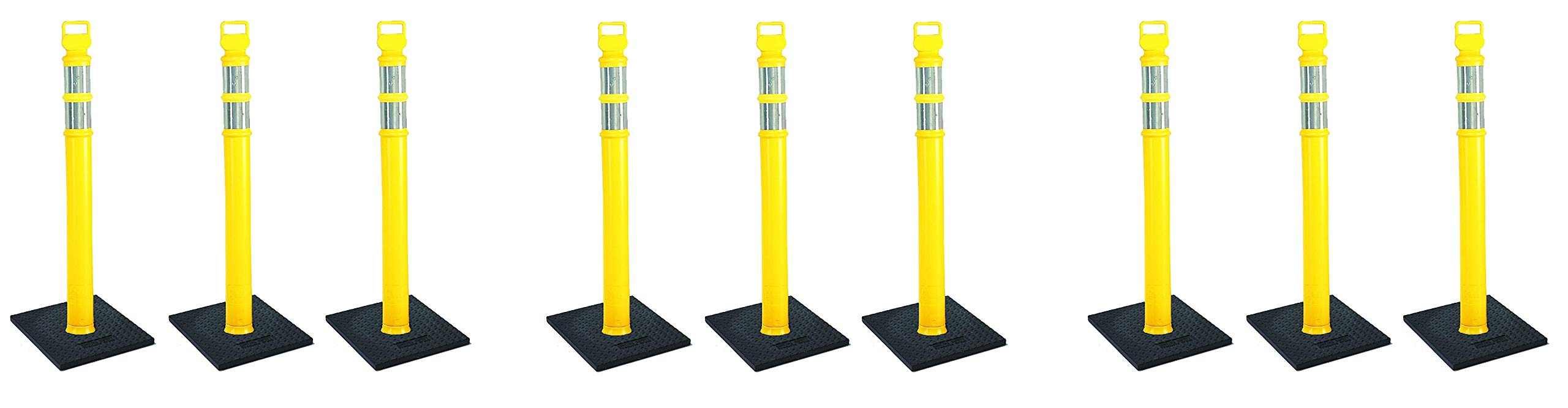Cortina EZ Grab Delineator 45'' Post, 3'' Hip Collars with 10 lb Base, 03-747YRBC-3, Yellow, 3 Pack (3 X Pack of 3)
