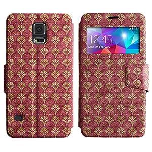 LEOCASE flores de color rosa Funda Carcasa Cuero Tapa Case Para Samsung Galaxy S5 I9600 No.1002846