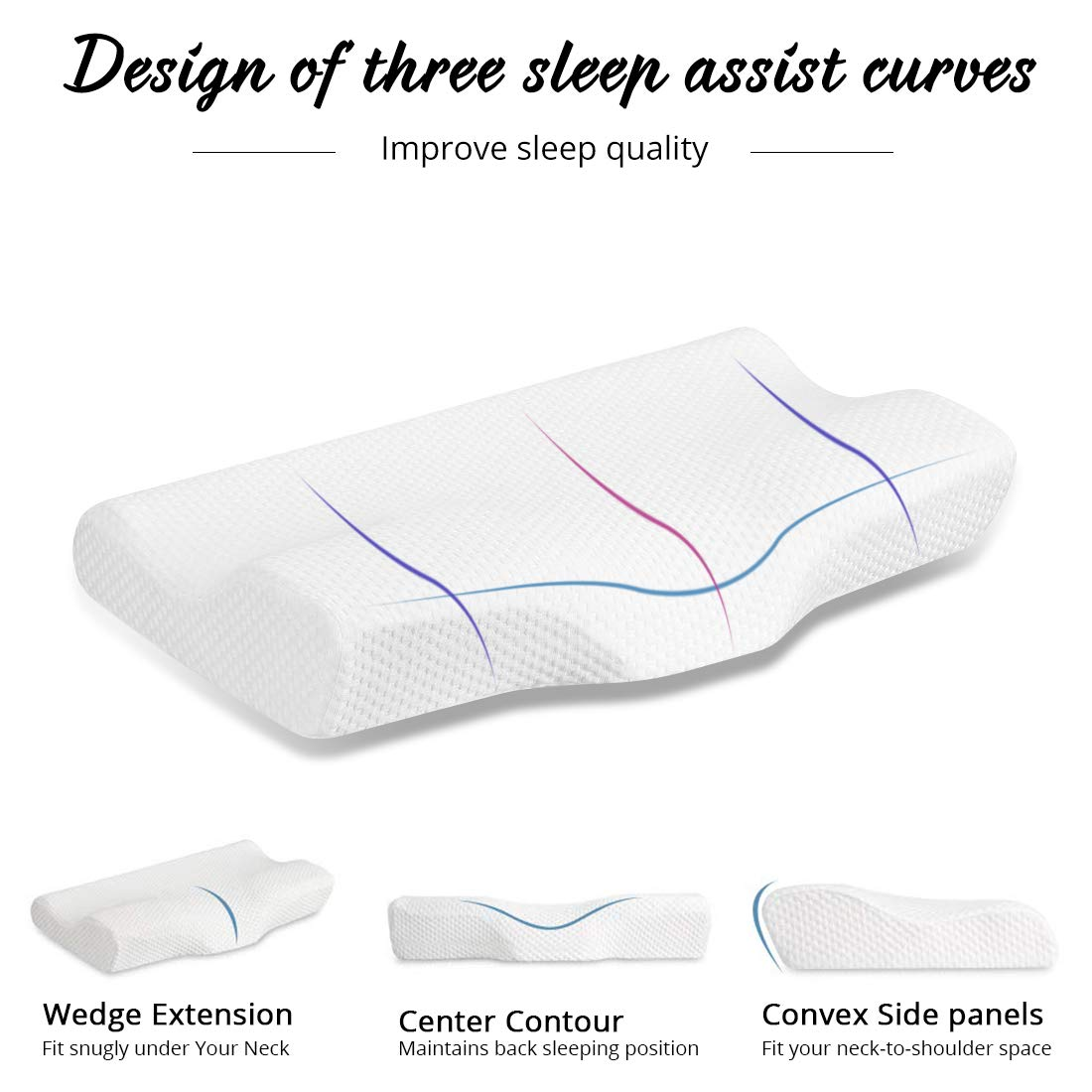 Emolli Cervical Pillow Contour Pillow for Neck and Shoulder Pain,Orthopedic Pillows About Back Sleepers Side Sleepers /& Stomach Sleepers with 2 Pillow case 24x12x4inch,Slightly Hard-Upgrade