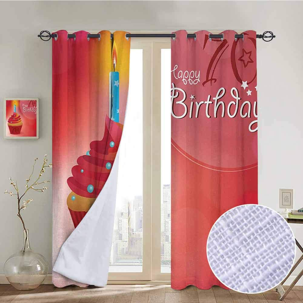hengshu 70th Birthday Wear-Resistant Color Curtain Abstract Sun Beams Inspired Backdrop with Surprise Party Cupcake Image 2 Panel Sets W84 x L72 Inch Red and Orange by hengshu