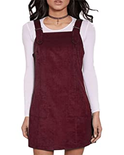 e0a3d6fdb3 FLORHO Women Casual Spaghetti Strap Overalls Loose Jumper Dress with Side  Pocket